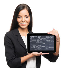 Young, confident, successful and beautiful business woman with t