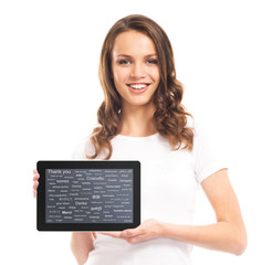 A young and happy girl holding a tablet computer on white
