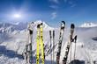 Skispitzen vor Bergpanorama