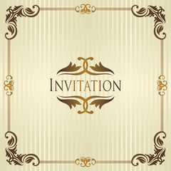 Vintage invitation. Striped background