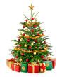 Leinwandbild Motiv Perfekter Weihnachtsbaum mit Geschenken