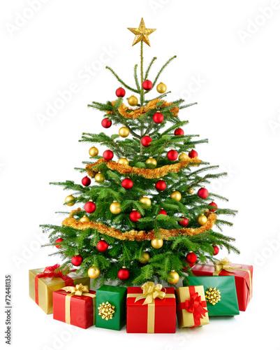 perfekter weihnachtsbaum mit geschenken stockfotos und. Black Bedroom Furniture Sets. Home Design Ideas