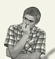 Sketch Teen boy body language - Nervous biting nails