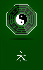 Bagua Yin Yang symbol with Wood element.