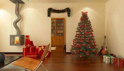 Interno domestico, soggiorno, natalizio, feste di natale