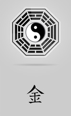 Bagua Yin Yang symbol with Metal element.