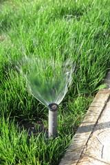 Turbo-driven pop-up sprinkler spraying the fresh lawn grass