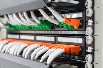 Local area network switch (LAN) ethernet cables on panel borad