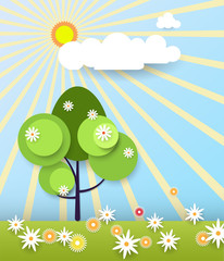 Paper spring tree with sunshine