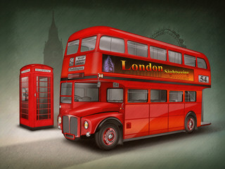 London Doppelstockbus, Telefonzelle Big Ben