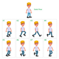 Animation of boy walking.