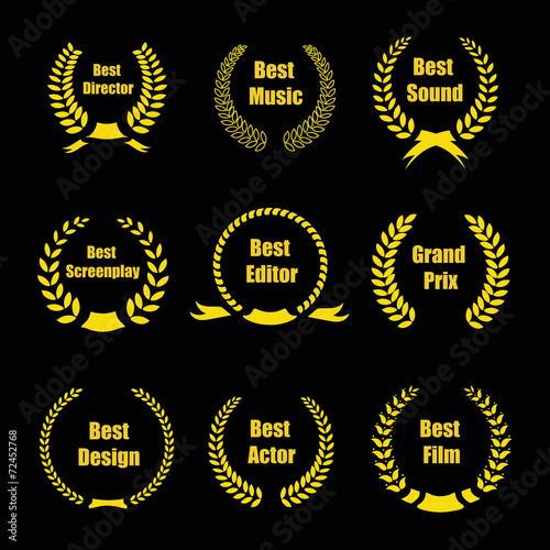 Vector Film Awards, gold award wreaths on black background - 72452768