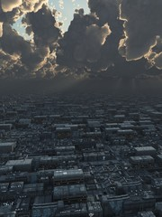 Science Fiction Illustration of a Future City under Storm Clouds