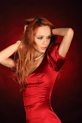 Red dress beauty girl sexy eyes
