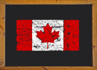Flag of Canada on a whiteboard