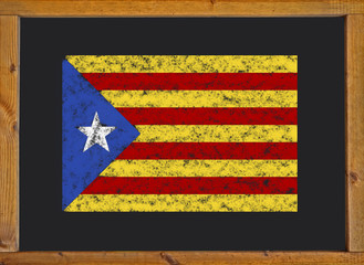 The Catalan independence flag (Estelada blava) on a blackboard