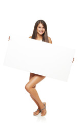 Woman with white banner