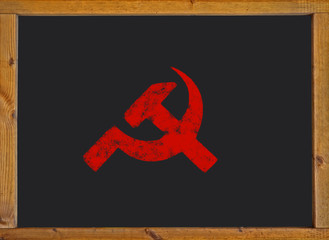 Communist symbol on a blackboard