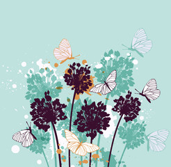 Background with butterflies and wildflowers