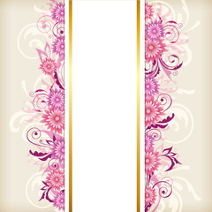 Vertical banner with pink flowers