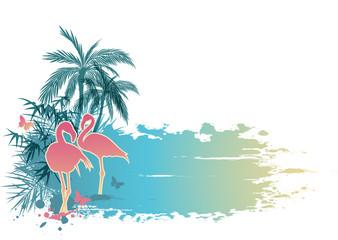 Palms and flamingo