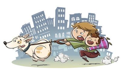 niños paseando un perro