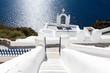 canvas print picture - Kirche auf Santorin über dem Meer
