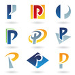 Abstract icons for letter P