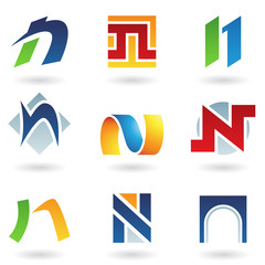 Abstract icons for letter N