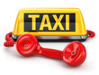 canvas print picture - Taxi car sign and  telephone on white isolated background.