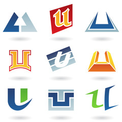 Abstract icons for letter U
