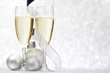 Champagne and decorative balls