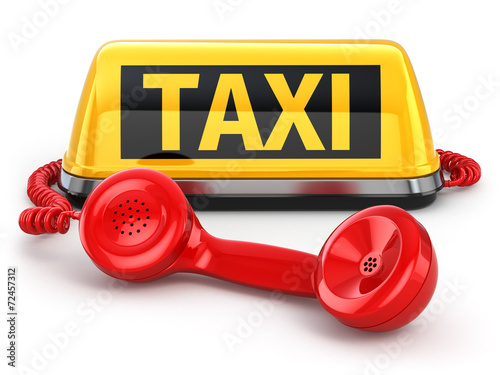 canvas print picture Taxi car sign and  telephone on white isolated background.