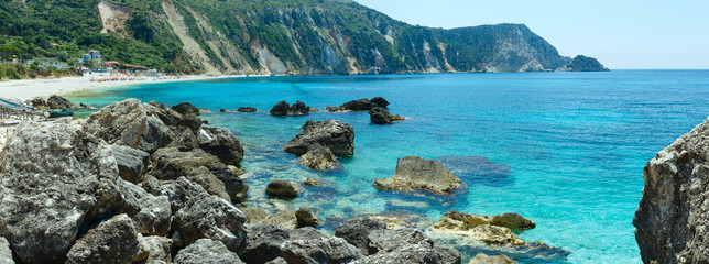 Petani Beach (Kefalonia, Greece) summer panorama.