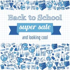 Doodle back to school super sale poster.