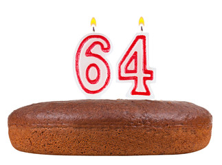 birthday cake candles number 64 isolated