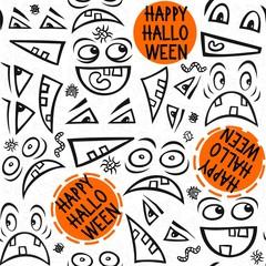straszne twarze z życzeniami na białym tle deseń Halloween