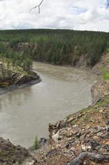 Canyon of the mountain river in Yakutia.