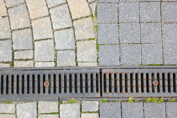 drain and stone pavement