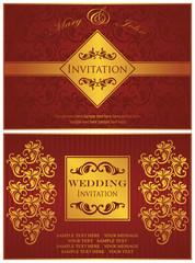 Set of two wedding invitation. Vintage cards