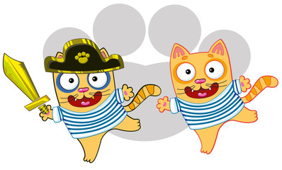 cat sailor and pirate cat