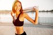 Leinwanddruck Bild - Portrait of an athletic girl. Beautiful young sport fitness mode
