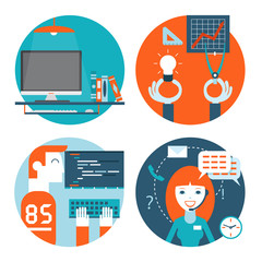 web studio workplace concept and web page programming and coding