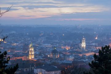 Night scenery of Lvov
