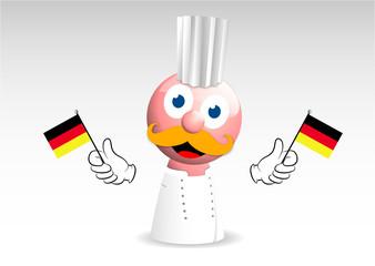 cucina tedesca, mascotte, cuoco, pupazzo