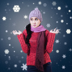 Confused Winter Woman