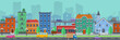 Wide screen cityscape in flat style - 72462124