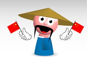 stereotipo cinese, cinesino, mascotte, personaggio