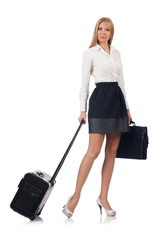 Businesswoman with luggage isolated on the white
