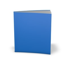 Book with empty blue cover. Standing in vertical position.